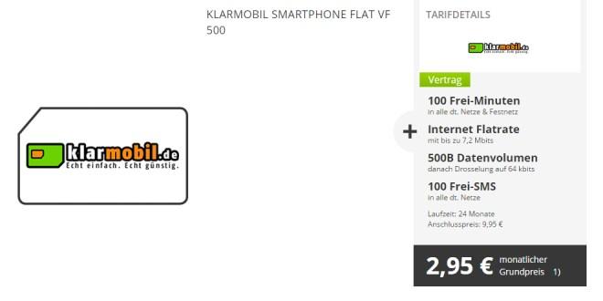 100 Min + 100 SMS und 500 MB Internet Flat nur 2,95€ mtl.