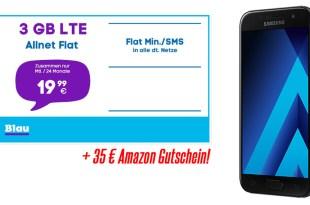 Galaxy A3 (2017) + 3 GB LTE + 35€ Amazon Gutschein nur 19,99€ mtl.