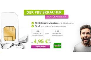 1 GB + 100 Min im Telekom Netz mit 50€ Bonus nur 4,95€ mtl.
