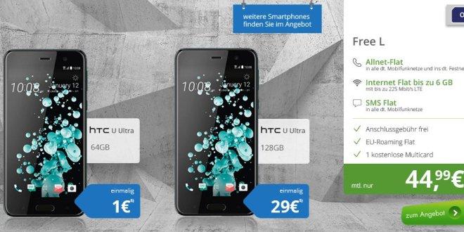 HTC U Ultra mit Allnet Flat und 6GB LTE nur 44,99€ mtl.