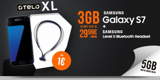 otelo Allnet-Flat XL 3GB mit Galaxy S7 nur 29,99€ mtl.