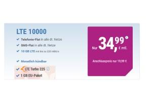 10 GB LTE Turbo mit Allnet + EU und monatlich kündbar nur 34,99€ mtl.
