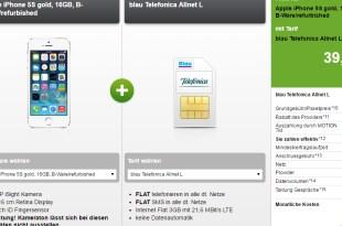 iPhone 5S mit Allnet Flat und 3GB LTE nur 14,99€ mtl.