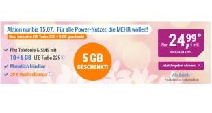 15 GB LTE Turbo + Allnet + monatlich kündbar nur 24,99€ mtl.