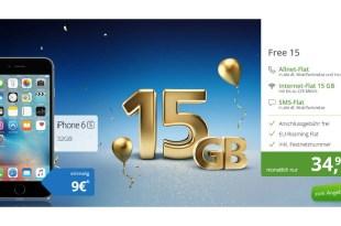 iPhone 6s mit 15 GB LTE und Allnet nur 34,99€ mtl.