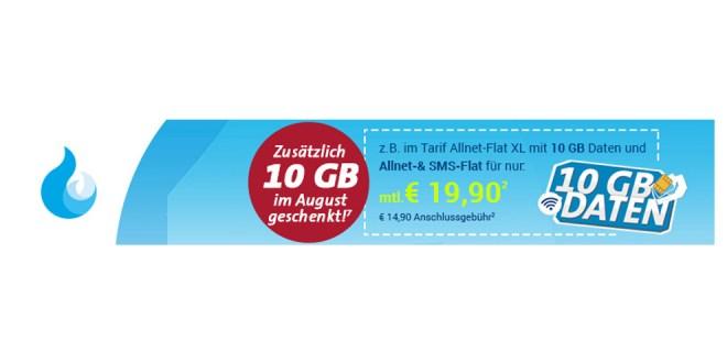 10 GB Allnet im Netz der Telekom nur 19,90€ mtl.