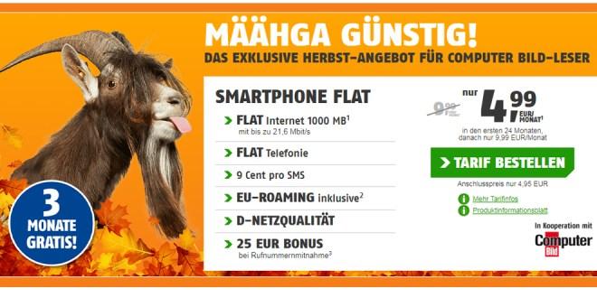 Smartphone Flat 1000 für nur 4,99 EUR inkl. 3 Gratismonaten