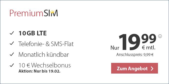 10 GB LTE mit Allnet und monatlich kündbar nur 19,99€ mtl.