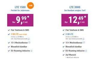 2 GB LTE + Allnet + EU + monatlich kündbar nur 9,99€ mtl.