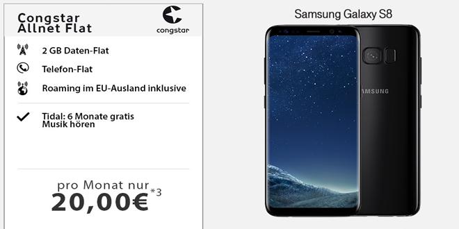 Congstar Allnet (2GB) mit Galaxy S8 nur 20,-€ mtl.