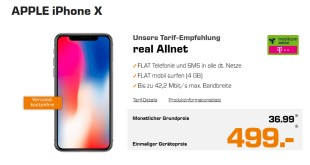 APPLE iPhone X mit 4GB Telekom Allnet 36,99€ mtl.