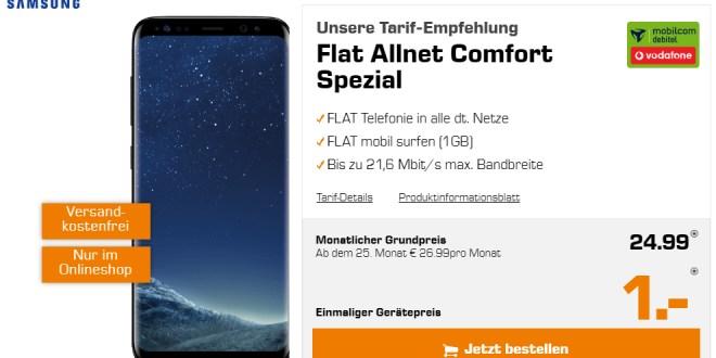 Galaxy S8 mit Flat Allnet Comfort Spezial nur 24,99€ mtl.