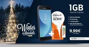 Galaxy J3 (2017) mit 1GB und 100 Min nur 9,99€ mtl.