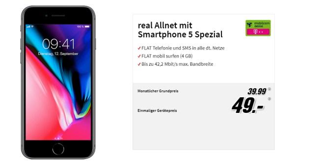 iPhone 8 mit 4 GB und Allnet Telekom nur 39,99€ mtl.