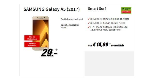 Galaxy A5 (2017) mit 2GB Internet nur 14,99€ mtl.