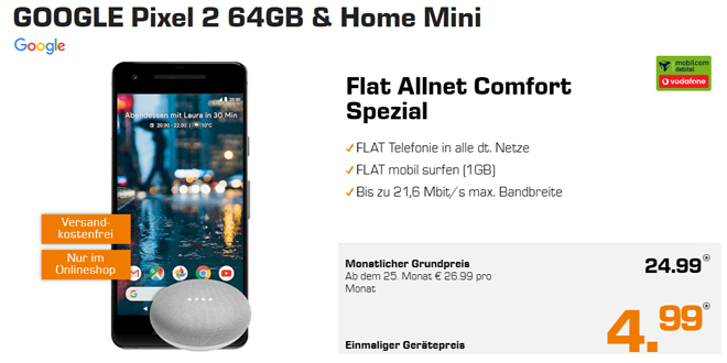pixel 2 home mini mit allnet und 1gb nur 24 99 mtl. Black Bedroom Furniture Sets. Home Design Ideas