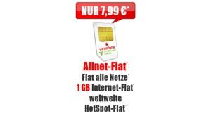 Allnet-Flat mit 1 GB Internet im Vodafone Netz nur 7,99€ mtl.