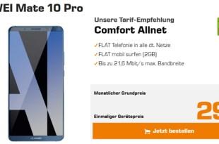HUAWEI Mate 10 Pro mit 2 GB Internet und Allnet nur 31,99€ mtl.