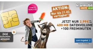 100 Min mit 400MB Internet und 24€ Amazon Gutschein nur 2,99€