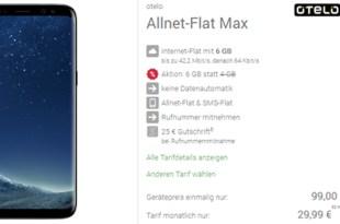 Galaxy S8 mit 8 GB Internet und Allnet nur 29,99€ mtl.