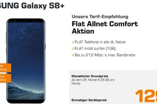 Galaxy S8+ mit Allnet und 1 GB Internet nur 19,99€ mtl.