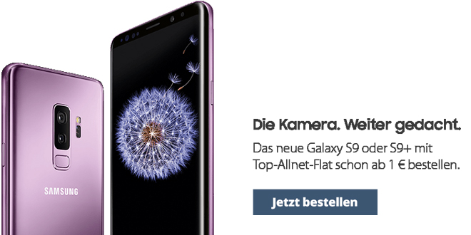 Galaxy S9 mit 4 GB LTE Allnet und EU Roaming nur 42,99€ mtl.