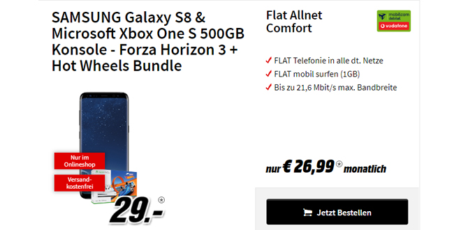 Galaxy S8 & Xbox One S 500GB - Forza Horizon 3 + Hot Wheels Bundle nur 26,99€