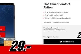 Galaxy S8 & 64 GB SD Karte mit Allnet nur 19,99€ mtl.