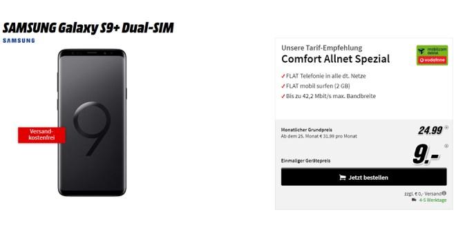 Galaxy S9+ mit Allnet und 2 GB Internet nur 24,99€ mtl.