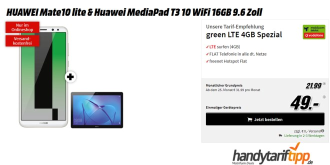 Mate10 lite & MediaPad T3 + 4GB LTE nur 21,99€