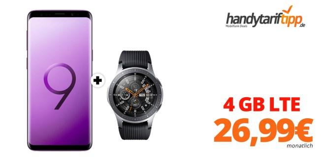Galaxy S9 + Galaxy Watch und 4 GB LTE nur 26,99€