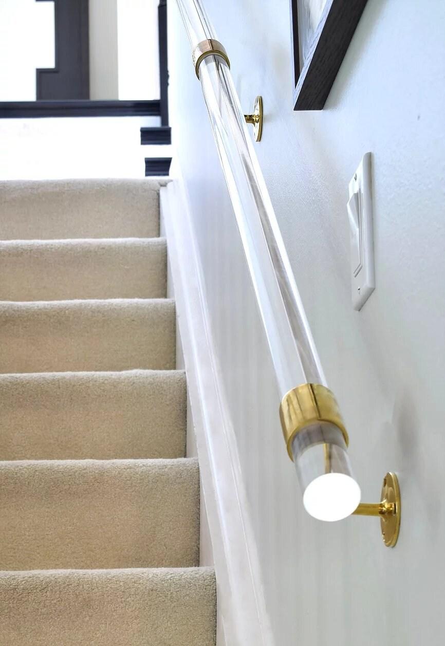 Lucite And Brass Handrail Haneen S Haven   Acrylic Handrails For Stairs   Design   Modern Stair   Glitter   Plexiglass   Decorative