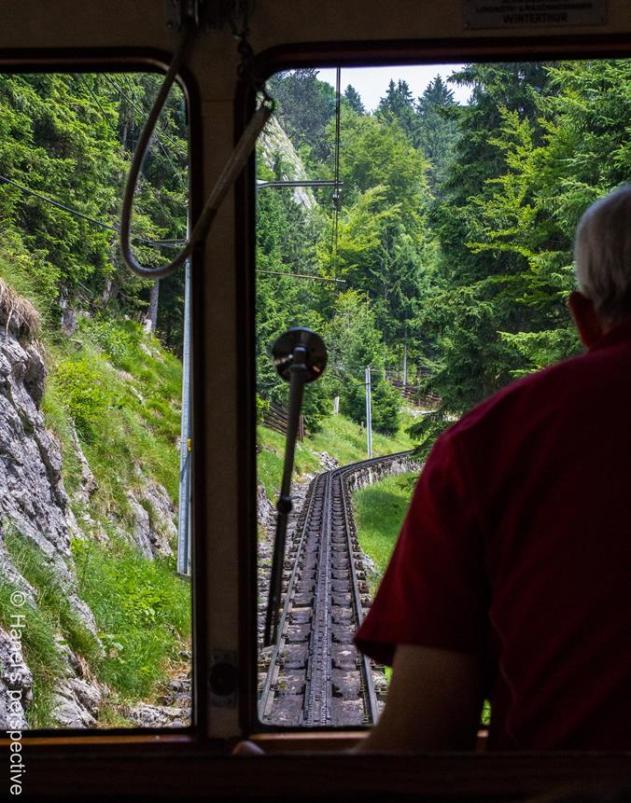 View over the shoulder: along Pilatus cogwheel train