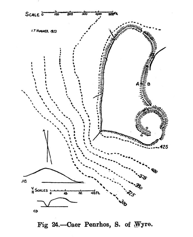 Cynllun safle Caer Penrhos i'r De o Wyre, Llanrhystyd