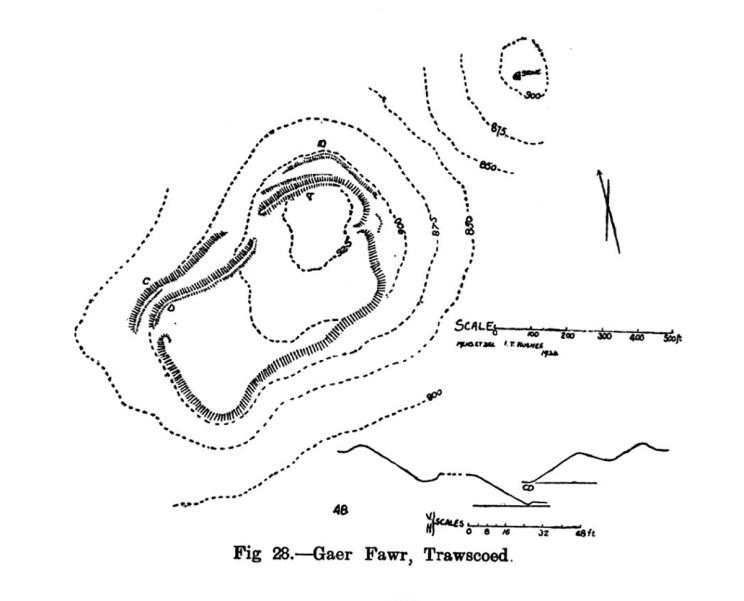 Cynllun y safle Gaer Fawr Trawscoed