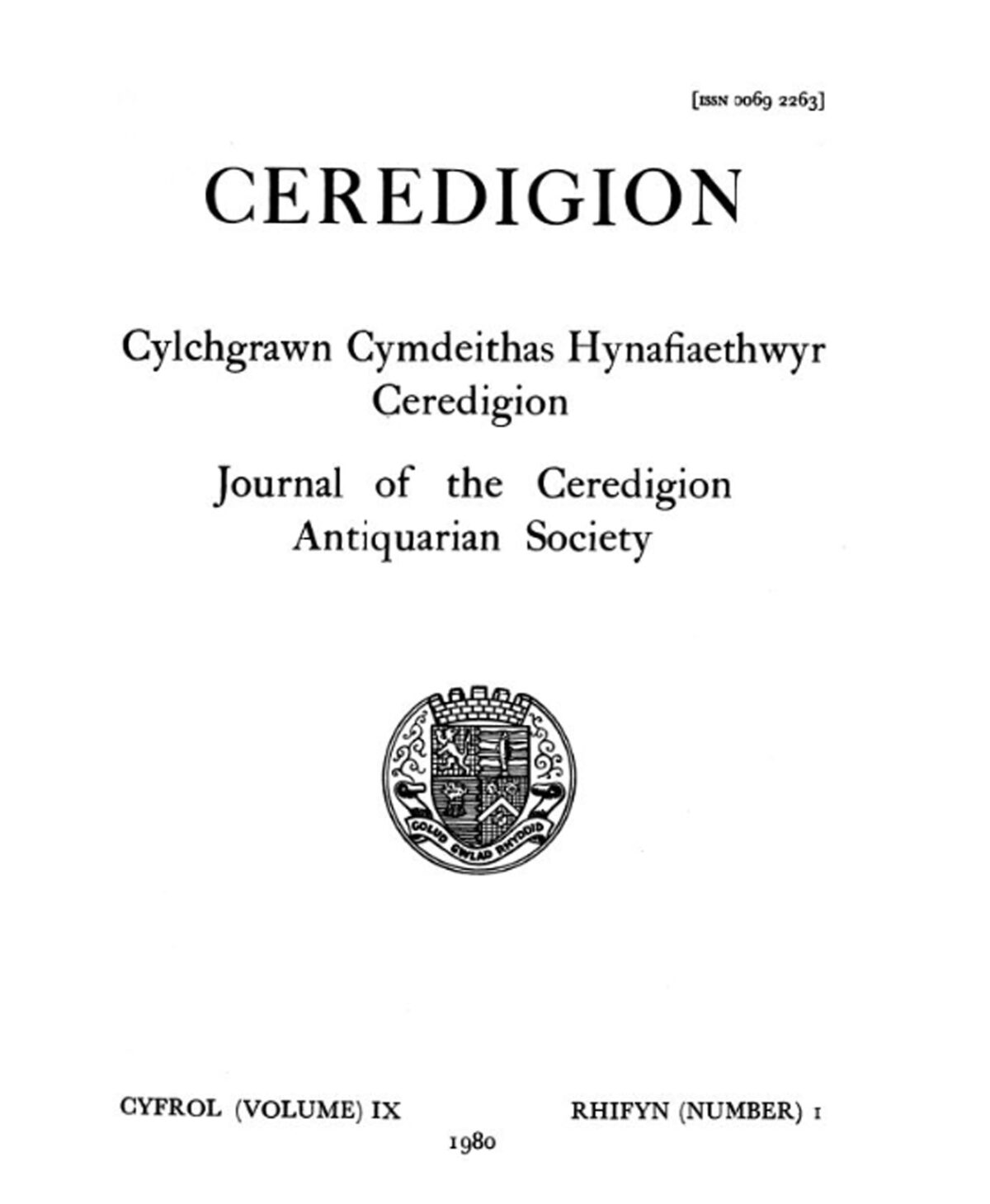 Ceredigion – Journal of the Cardiganshire Antiquarian Society, 1980 Vol VIII No I
