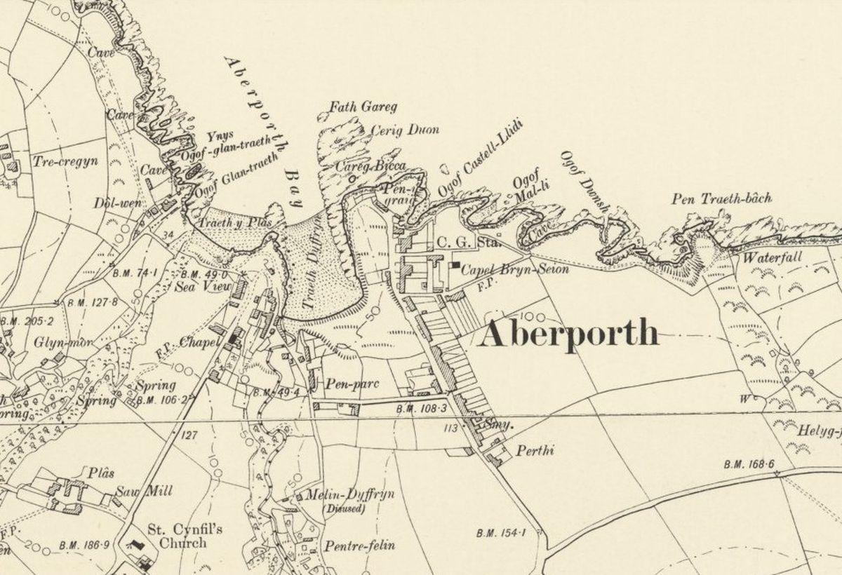 Mapio Hanesyddol Aberporth - OS Six Inch, 1888-1913, Atgynhyrchwyd gyda chaniatâd Llyfrgell Genedlaethol yr Alban