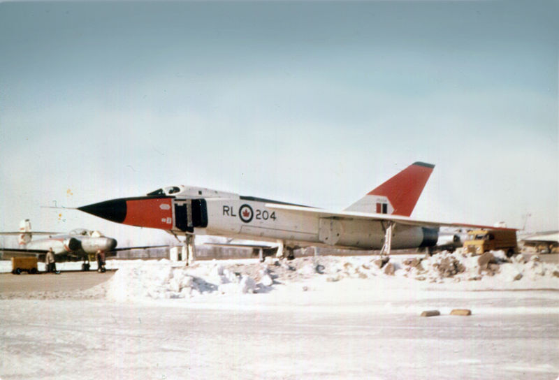 Arrow No. 204, the fourth in the series of five to be built before the January 1959 order that all aircraft be destroyed, pictured here at Avro Canada's Malton, Ontario facility during the winter of 1958-59.