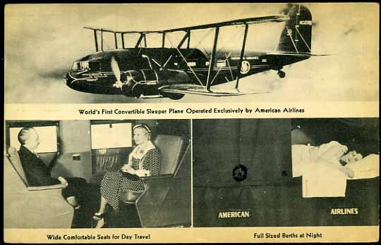 """An American Airlines postcard from 1933, emphasizing the Condor's spacious seating and comfy sleeping berths. At that time, the latter had never before been seen in an airliner: """"World's First Convertible Sleeper Plane..."""""""