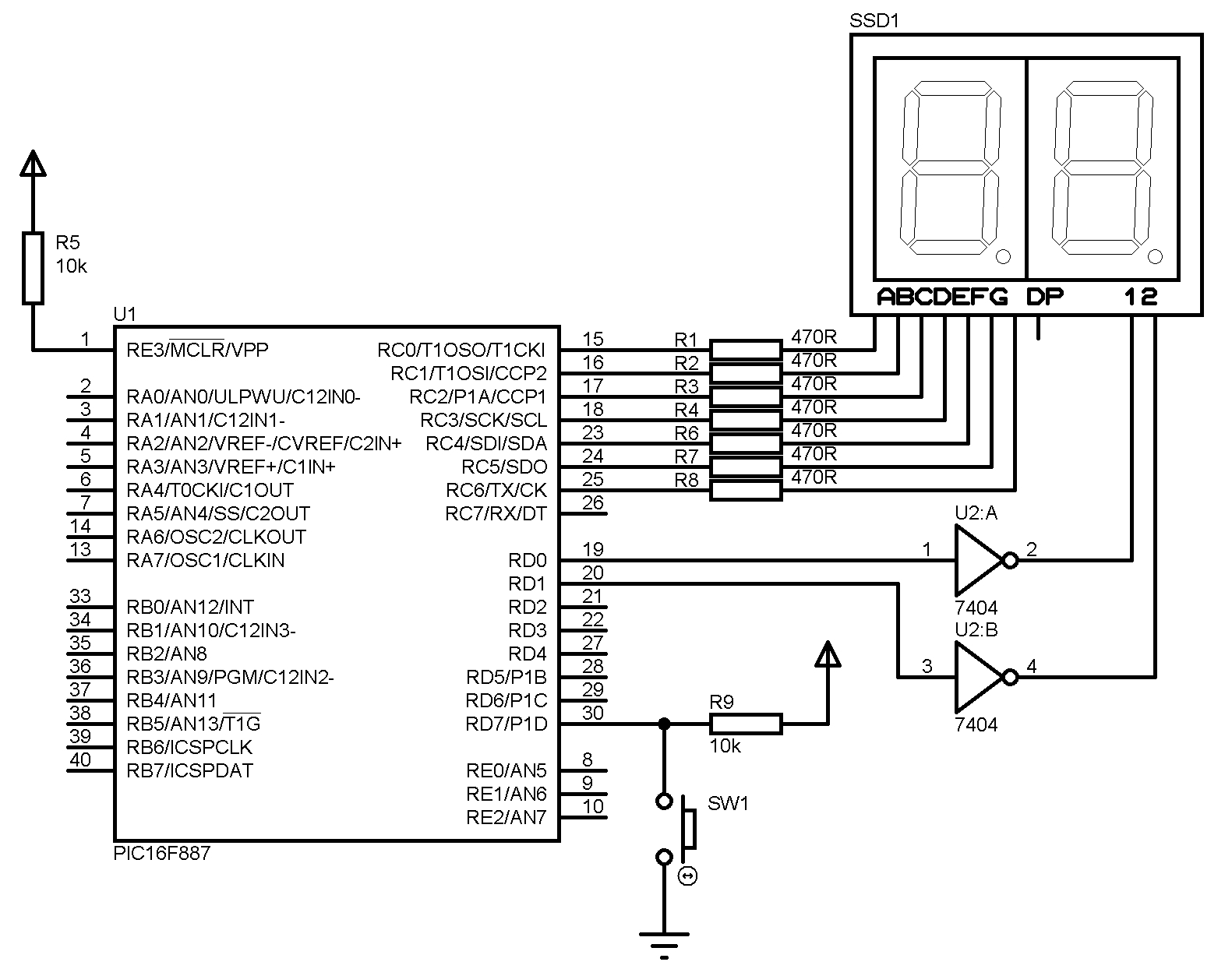 Microcontroller Two Digit Counter With Multiplexed Seven