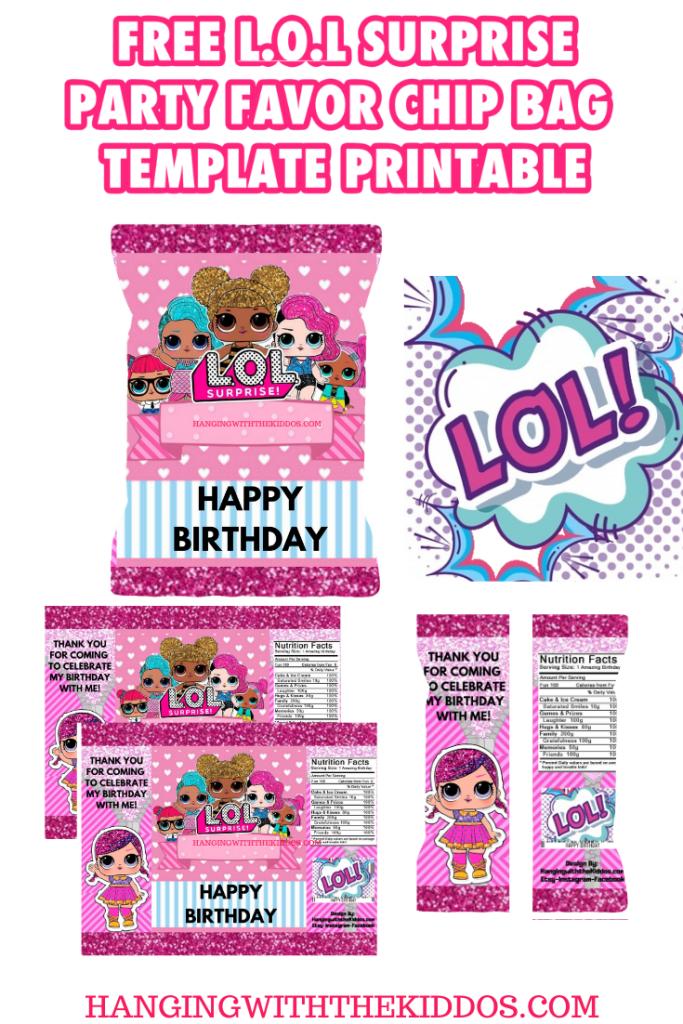 FREE L.O.L Surprise Party Favor Chip Bag Template Printable