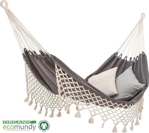 Premium hangmat met franje BIO katoen (GOTS) | Ecomundy Romance XL 360 – Antraciet grijs/ecru