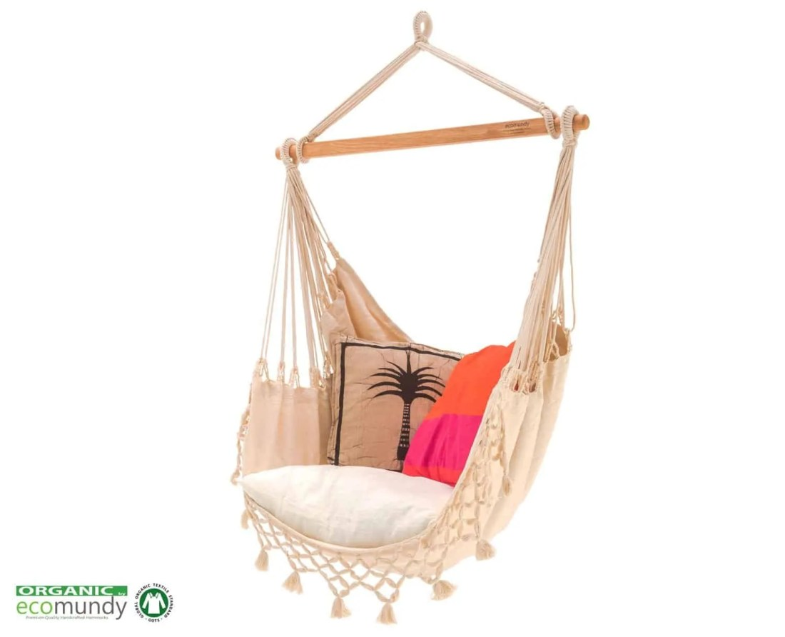 luxe hangstoel met franje | naturel wit – BIO katoen | ecomundy romance chair