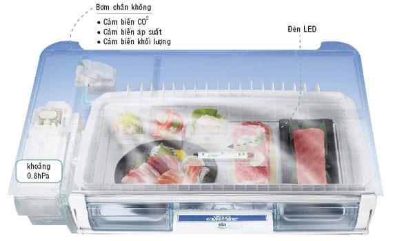 Ngăn hút chân không trên tủ lạnh Hitachi