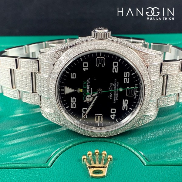 Rolex Air King 39MM 9.00ct Fully Diamonds Icedout