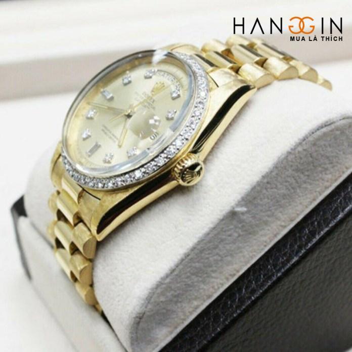 Rolex President Day Date 1803 Diamond Dial Bezel 18k Yellow Gold Florentine - 2