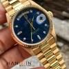 Đồng hồ rolex nam 18038 Daydate Presinden mặt tia xanh kim cương vàng đúc 18k