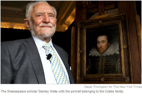 Shakespeare scholar Stanley Wells with the Cobbe Portrait - Hazel Thompson for The New York Times