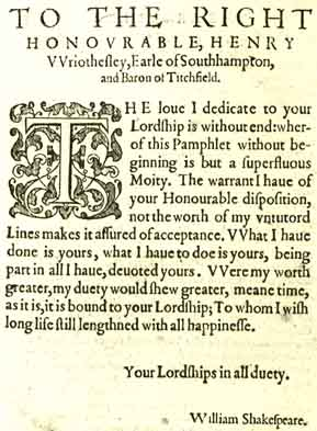 "Dedication of ""Lucrece"" to Southampton - 1594"