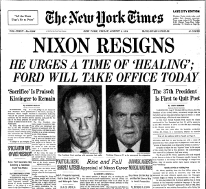 nytimes headline: nixon resigns